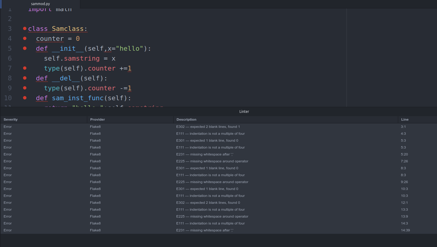 Flake8 with Atom